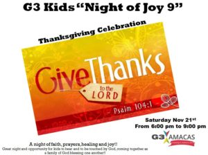 Night of Jy Thanksgiving celebration nov 2015